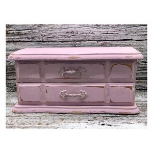 Vintage Distressed Shabby Chic Trinket Jewelry Box